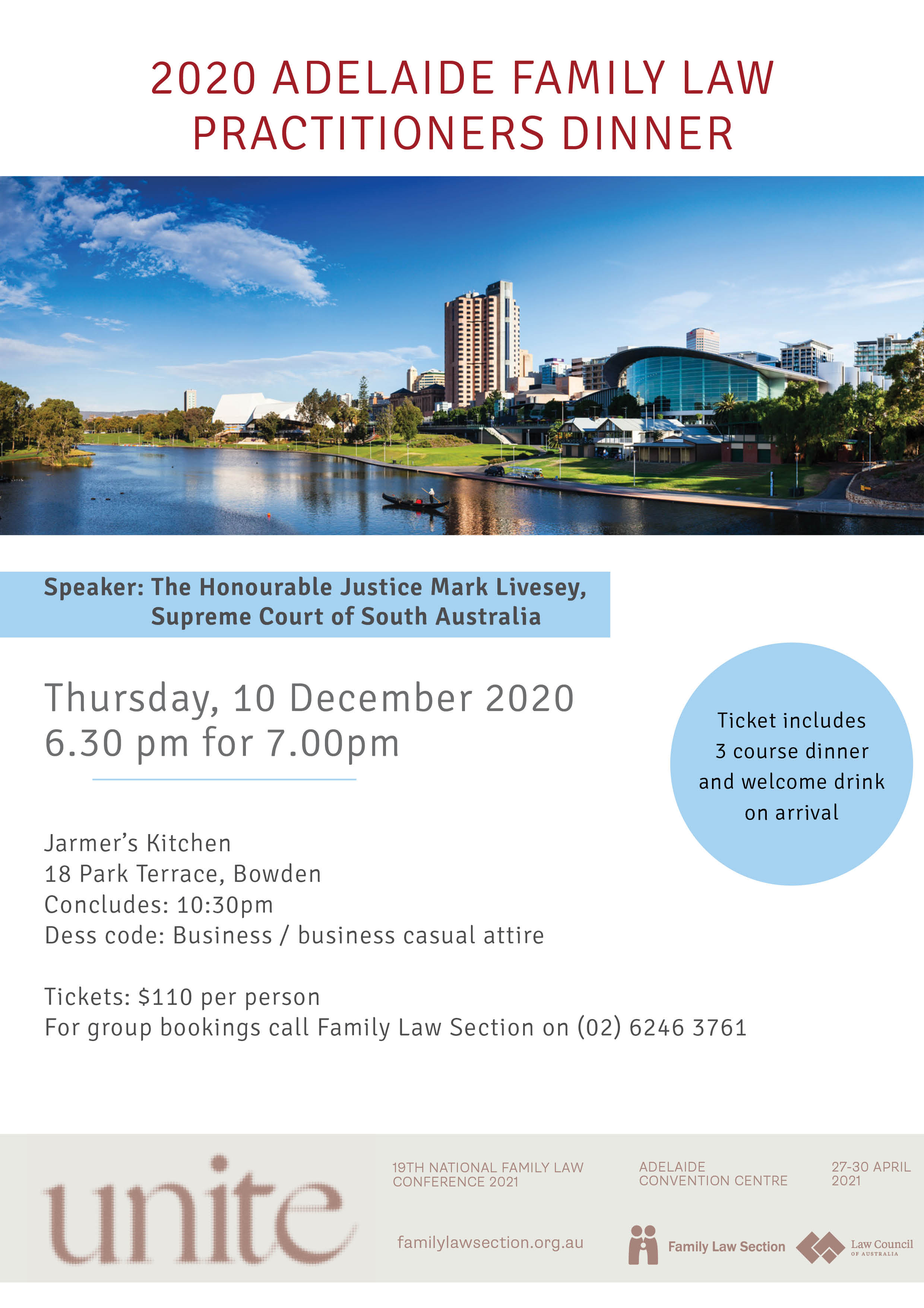 2020 Adelaide Family Law Practitioners Dinner Flyer